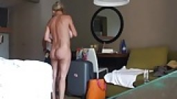 Mature couple flashing to room service maid