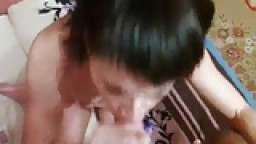 Hot brunette wife passionate blowjob and cum swallowing