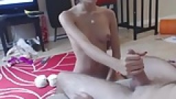 Petite brunette handjobs oiled big white cock